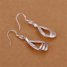 Silver plated 3 snake chain tassels linear drop earrings for women girl party fashion jewelry wholesale