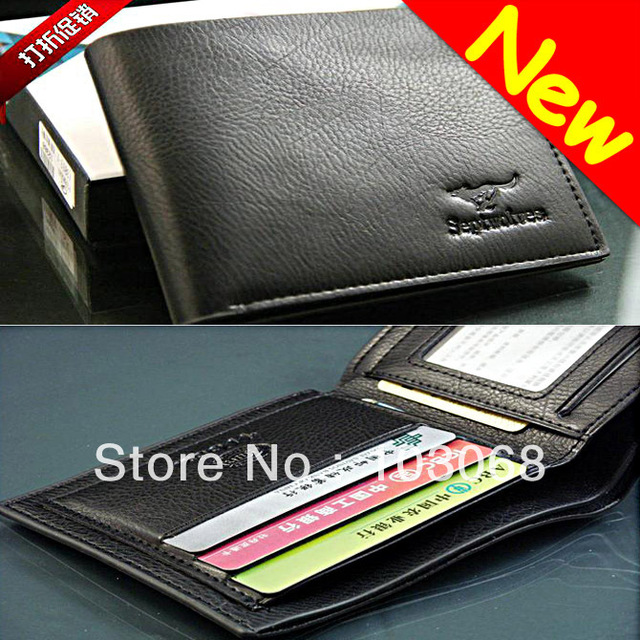 2013 New Genuine Leather Men Wallet Purse Black #B001 Gift Free Shipping