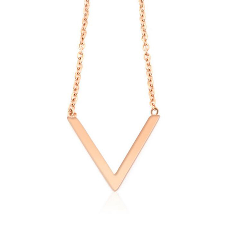 Trendy Fashion Gold Steel V Choker Necklace Women Titanium Steel Rose Gold Necklaces Clavicle Chokers Victory Girls DZXL074(China (Mainland))