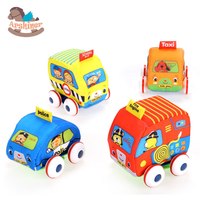 Arshiner 4pcs/Set Kids Car Toy Baby Mini Cars Fire Truck School Bus Family Car Plush Toys Car Model Education Children Dolls Toy(China (Mainland))