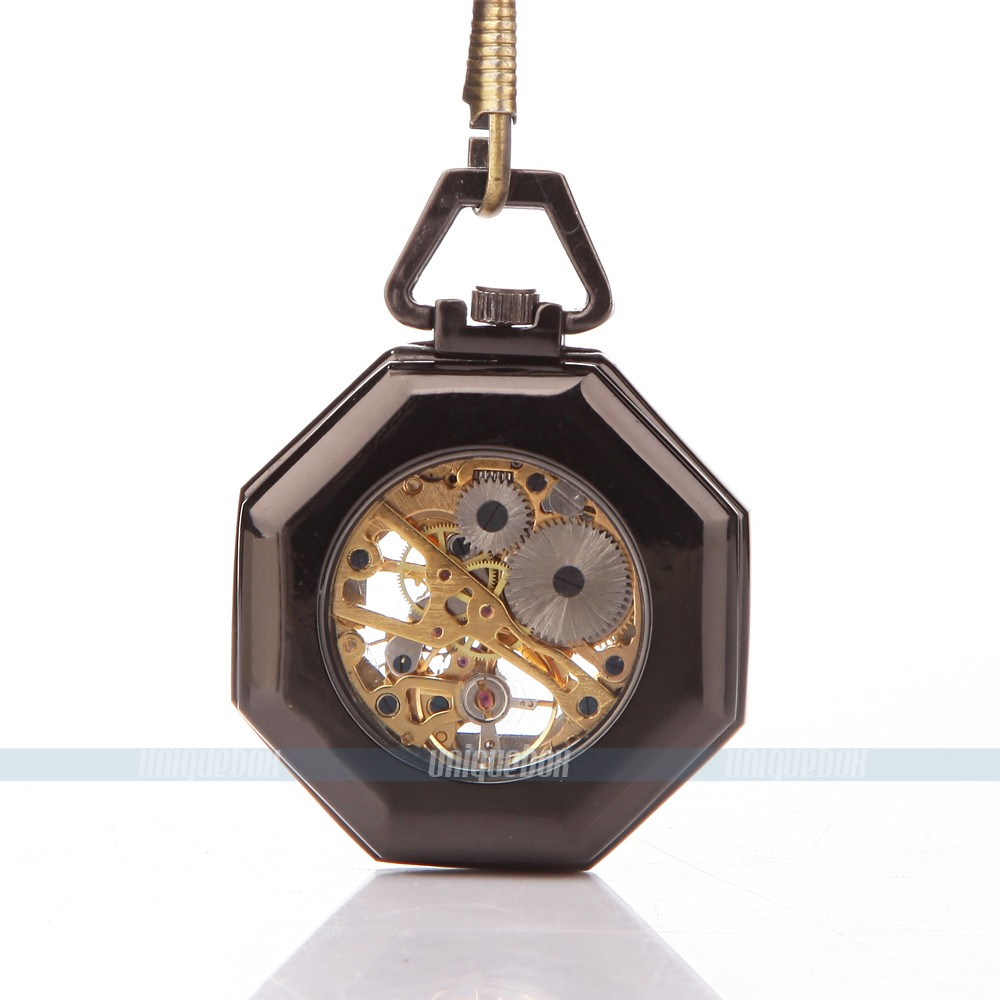 Classic Steampunk octagon Mechanical Stainless Steel Mens Roman pocket watch for free shipping 052981