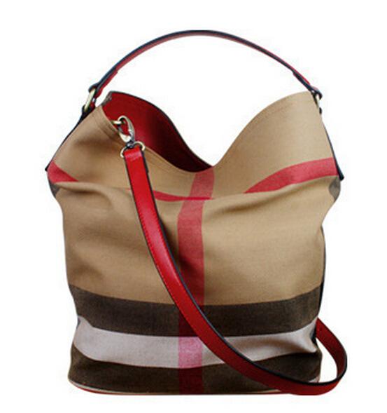 BRITISH GENUINE LEATHER + CANVAS CHECK PLAID BUCKET BAG FOR WOMEN - 2015 fashion designer handbags high quality shoulder bags(China (Mainland))