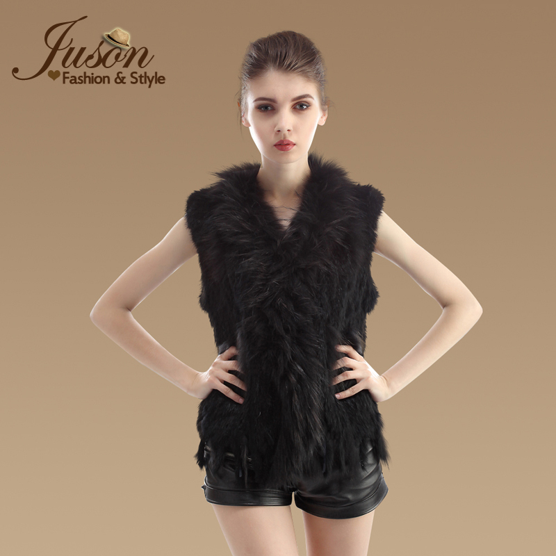 10 COLOR New Real Ladies Genuine Knitted Rabbit Fur Vest With Raccoon Fur Trimming Waistcoat Natural Fur Jacket with Tassel(China (Mainland))