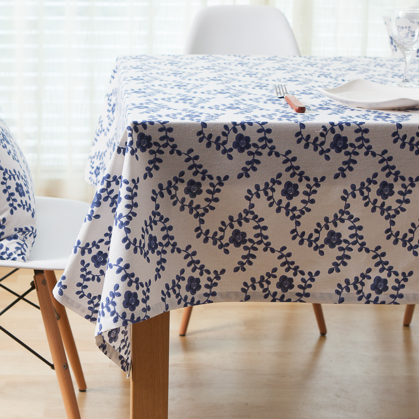 Chinese Style White and Blue Tablecloth Floral Table Cloth Table Cover Nappe Toalha De Mesa Table Cloth Wedding ZB-70(China (Mainland))
