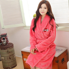 New 2015 Casual Warm flannel Robe Winter kimono Home clothes roupao robes Indoor Clothing Bathrobe robe women Free shipping(China (Mainland))