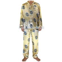Autumn New Gold Chinese Men Silk Pajamas Set Full Sleeve Pyjama Suit 2PCS Shirt&Pant Sleepwear Size S M L XL XXL XXXL S0043(China (Mainland))