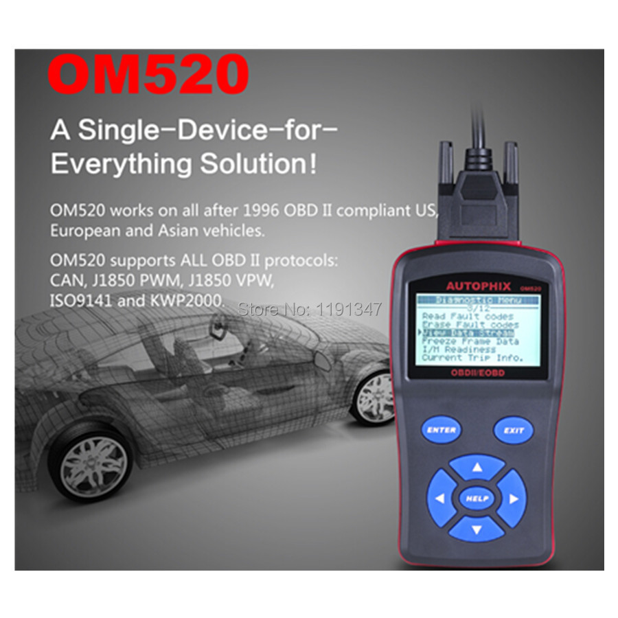 OBDMATE OM520 OBDII/EOBD Autophix Scanner Tools Car Detector Code Reader LCD Display Diagnostic Tool Upgrade Free(China (Mainland))