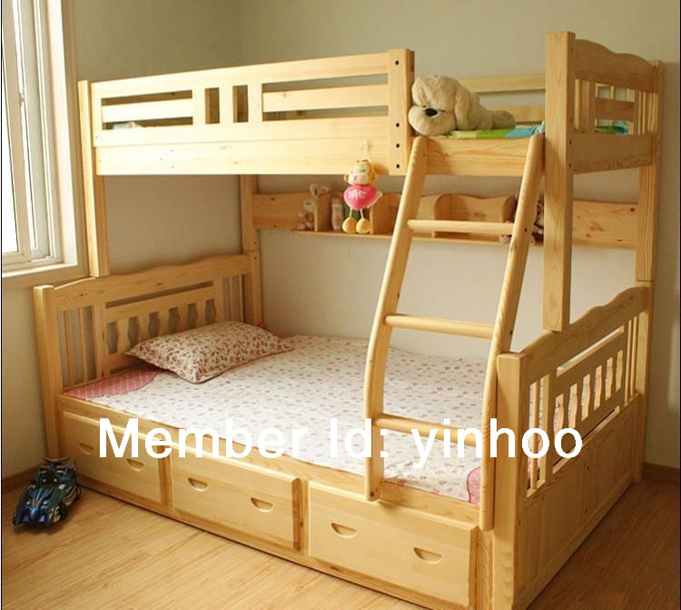 2014 new style triple bunk bed solid wooden bunk bed for