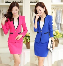 2015 New Arrival Plus Size 4XL Autumn Winter Formal Office Uniform Design Women Business Suits With Skirt Blazer Sets Work Wear