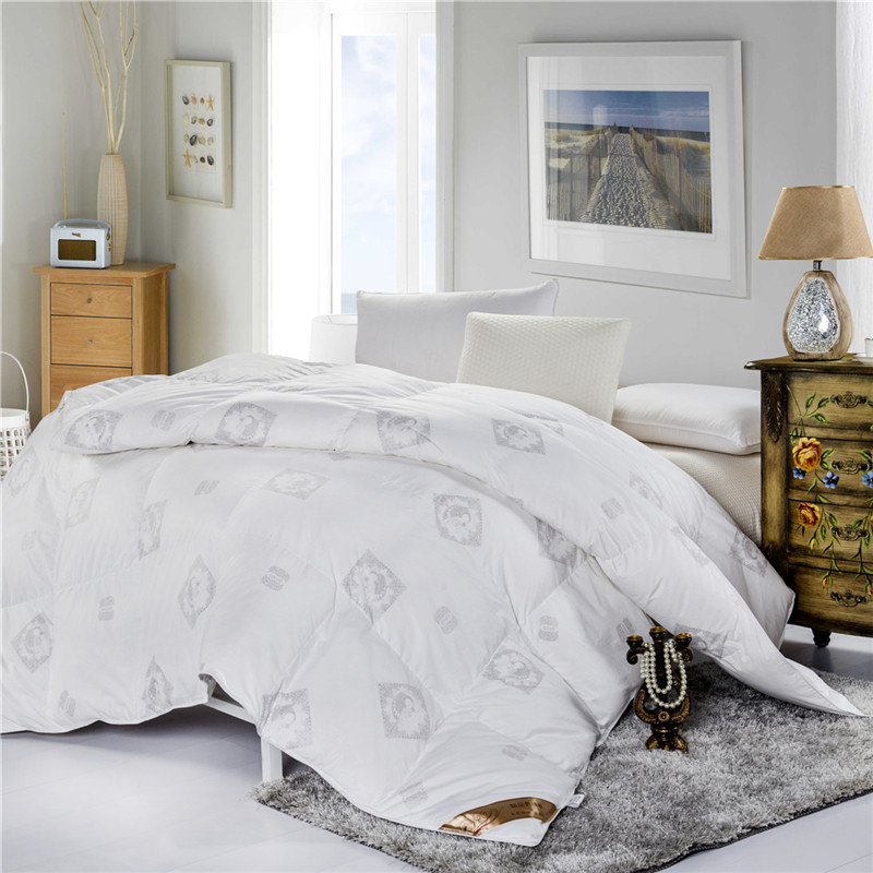 Warm White Goose Feather Down Comforter Full size /Queen size /King size White and Pink Winter Quilt for Sale(China (Mainland))