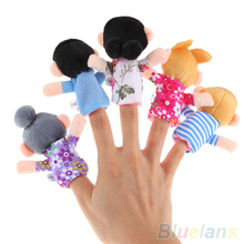 6PCS Baby Kids Plush Cloth Play Game Learn Story Family Finger Puppets Toys Set 25VV(China (Mainland))