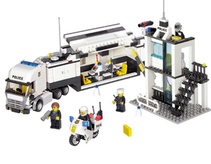 City Police Mobile Police Unit Truck Motorcycle Station Building Blocks Toy Minifigures Enlighten Gift Compatible With Lego(China (Mainland))