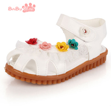 Free Shipping 2016 summer children nice Sweet flower sandals girls princess shoes dichotomanthes bottom 2 colors LG(China (Mainland))