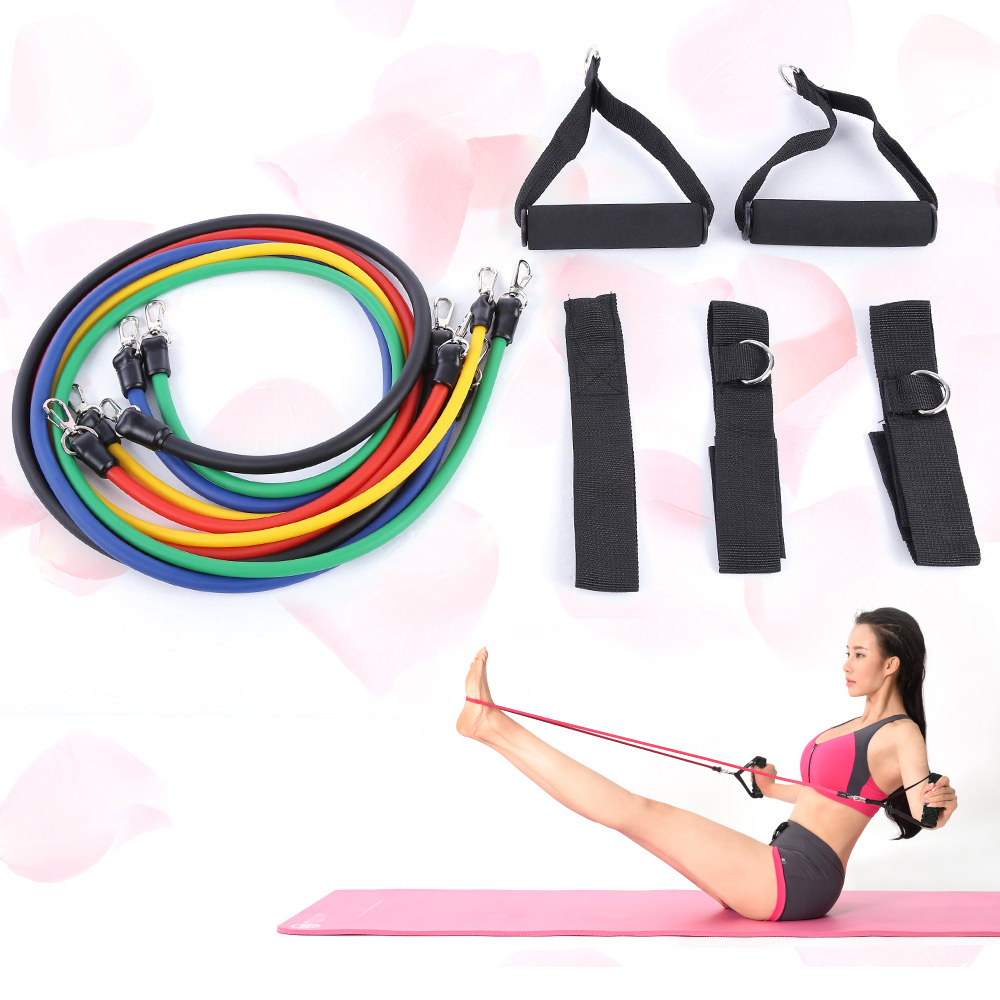 11pcs Set Natural Rubber Latex Fitness Equipment Resistance Bands Yoga Pull Rope Tubes Practical Elastic Training Equipment Rope(China (Mainland))
