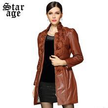 S-XXXL Brand Elegant 3D Applique Patchwork Long Leather Coat Brown PU Jackets 2015 Autumn Winter Plus Size Women Clothing 12949(China (Mainland))