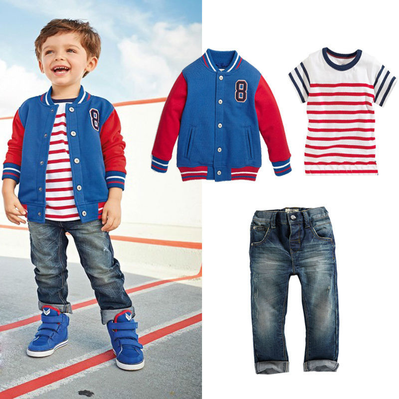 Free Shipping  handsome gentleman children clothing sets boys 3pcs clothes  sports coat +  striped t-shirt + jeans clothhing set<br><br>Aliexpress
