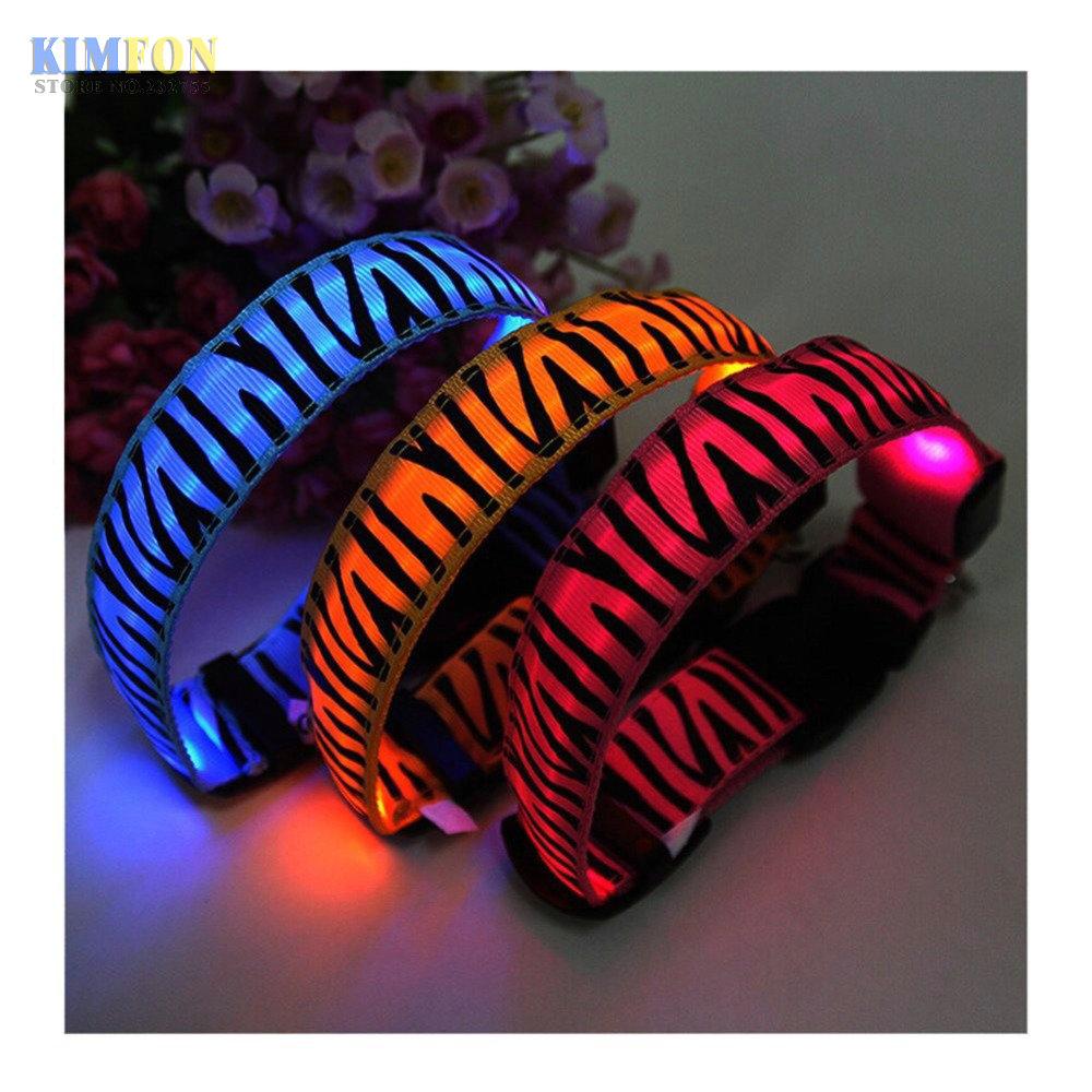 (wholesale) 50pcs/lot LED Dog Collars Light Zebra Pet Dog Collar Cat Puppy Collars Personalized Flash Pet Collars Pet Supplies(China (Mainland))