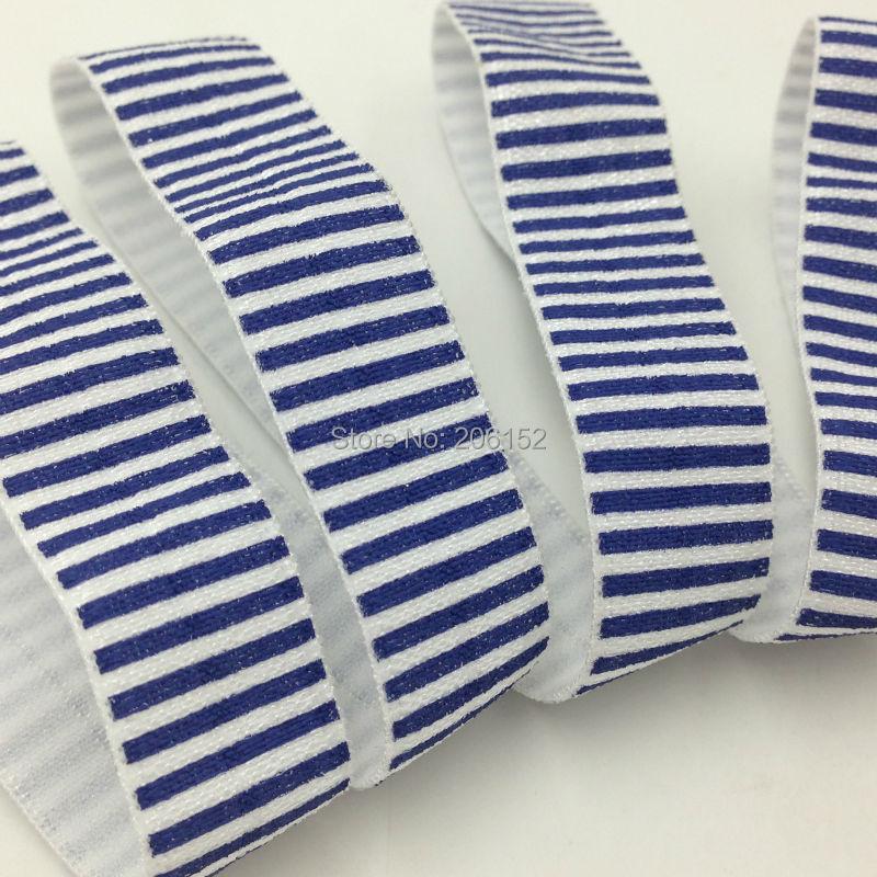 "Good Quality Navy Blue Stripe Fold Over Elastic 5/8"" Stripe Print FOE Ribbon for DIY Headwear Hair Accessories Headband 10Y/lot(China (Mainland))"