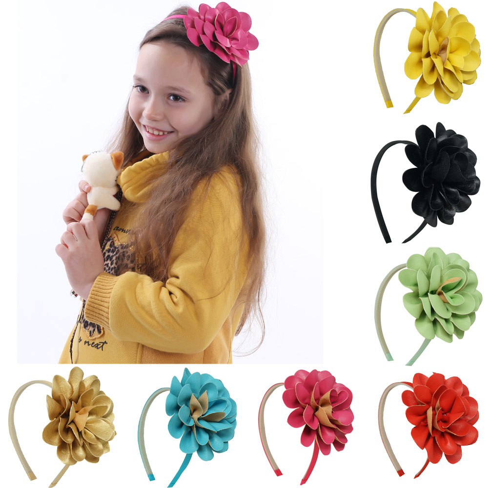 High Quality Sweet DIY Hairbands Leather Flower For Princess Girls Boutique Korea Cute Hair Accessories(China (Mainland))