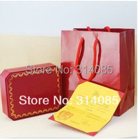 Sexy Fresh Red Color Jewelry Packaging,Full Jewel Boxing Set Contain 3 Item,Paper Bag,Box,and Certificater.Only Use For Bracelet