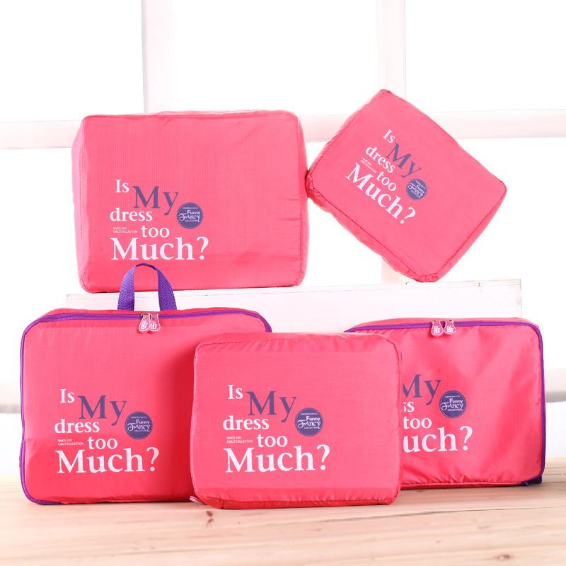 5Pcs Blue Nylon Mesh Zipper Portable Travel Luggage Storage Bag Clothes Organizer Case Suitcase Handbag Pouch Divider Container(China (Mainland))