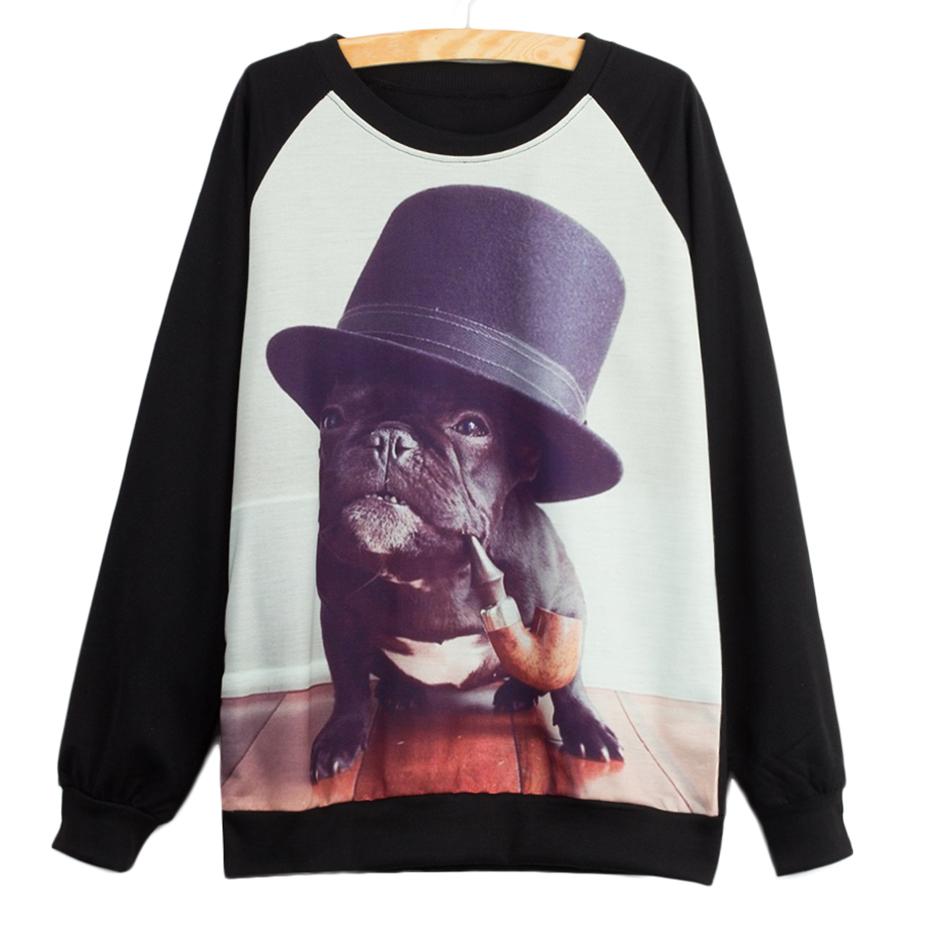 American apparel eagle women kawaii sweatshirts baggy hoodies black french bulldog jogging coat celebrity hip-hop rock melville(China (Mainland))