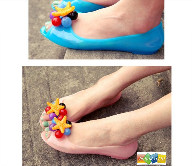 2013 New ladies' fashion Peep Toes women sweet jelly color Sandals with grapes&Starfish decoration freeshipping 1pair