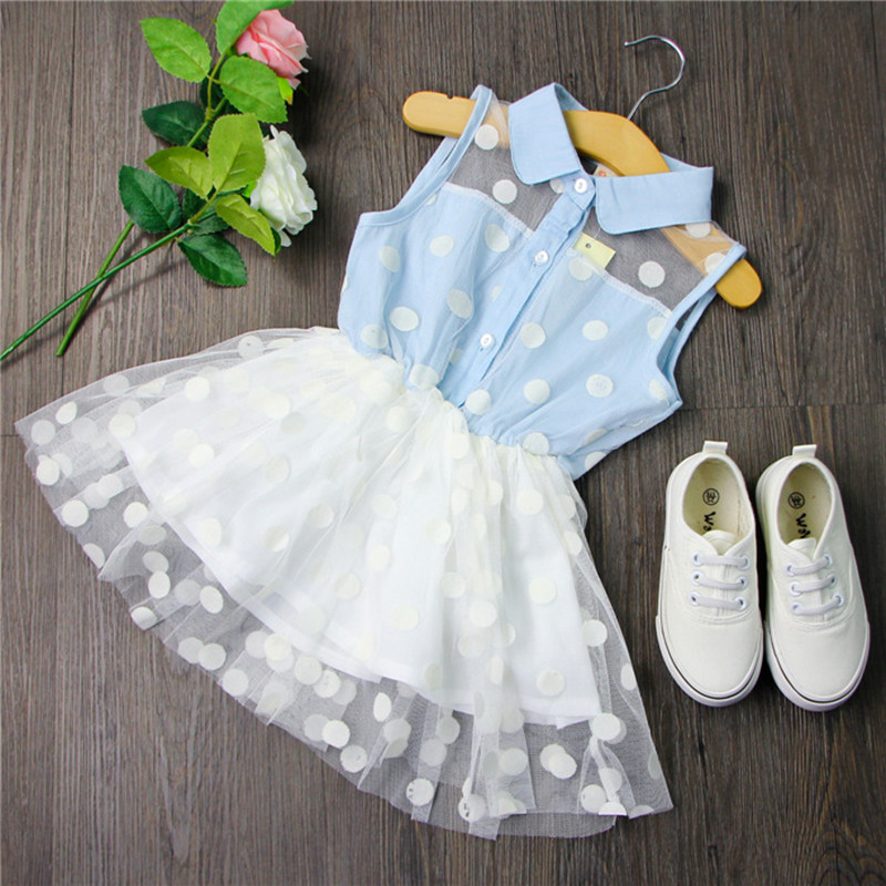 New Arrival 2016 Flower Girl Dress Cute Baby Sleeveless Turn Down Collar Lace Jean Stitching Princess Dress Girls Party Dress(China (Mainland))