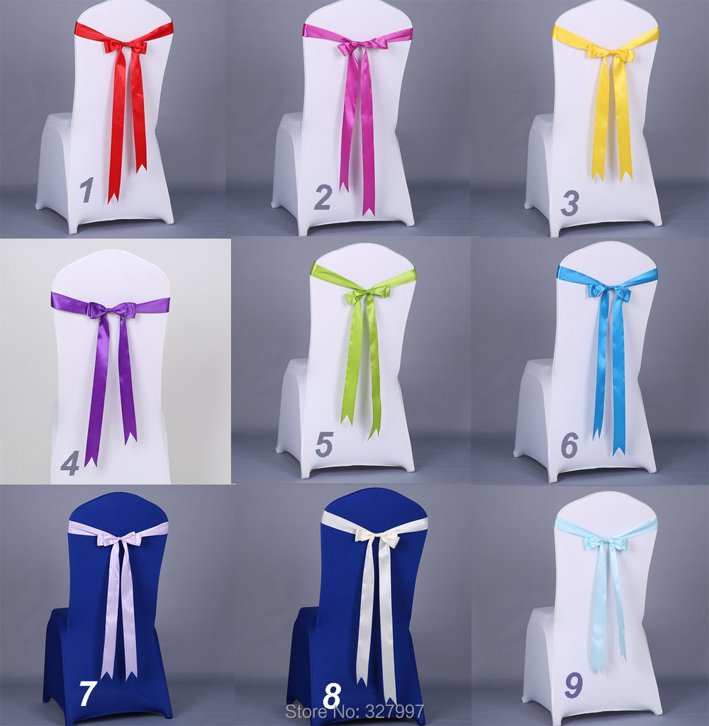 European Wedding arrangment polyester 5*190cm fabric satin chair cover sash flower bow tie backs flores ribbon boda 50pcs/lot(China (Mainland))