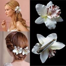 Beautiful Wedding Bridal Flower Orchid Leopard Hair Clip Brooch Hairpins Barrette Statement Beach Hairwear Purple&White