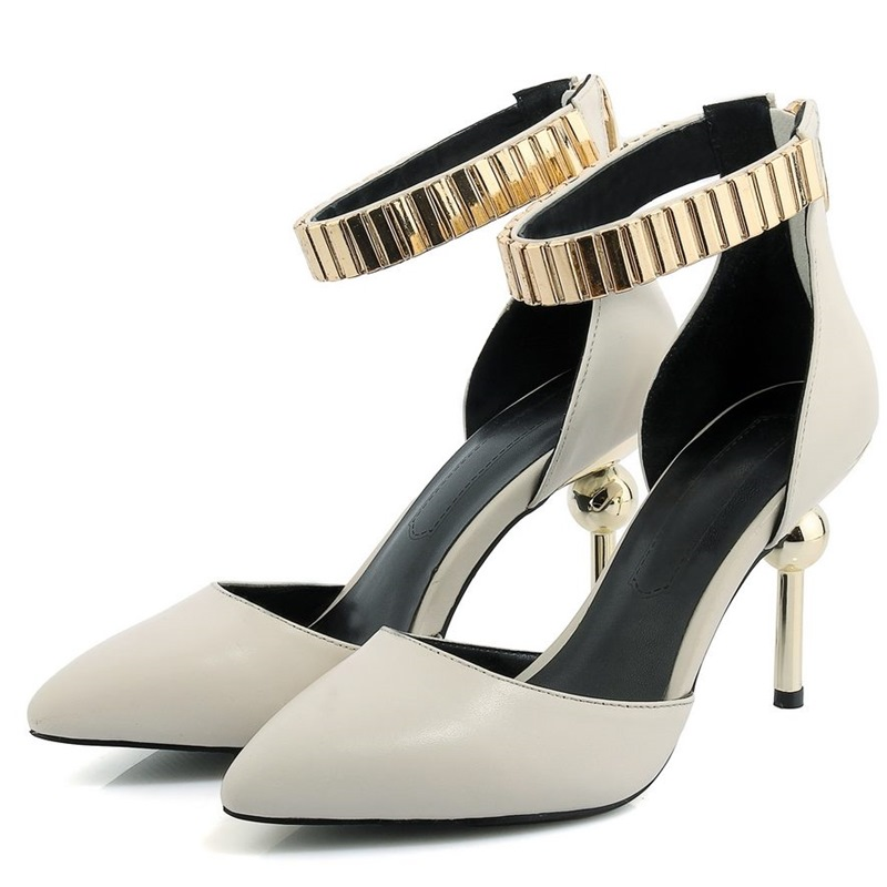 Fashion sexy summer white black Sandals Women shoes zip strap Pointed toe Thin high heels pumps