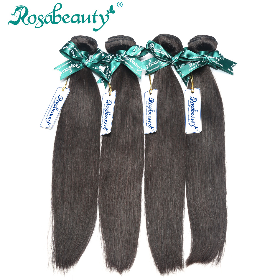 Grade 5A 4 Bundles Lot Indian Virgin Human Hair Straight Unprocessed RosaBeauty Hair Products Human Hair Weaves Shipping Free