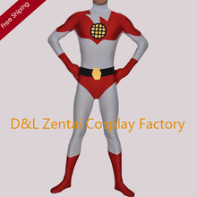 Free Shipping DHL White and Red Captain Planet Superhero Costume Lycra Spandex Zentai Suit SH1306