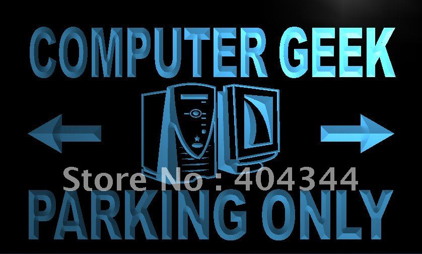 LN244- Computer Geek Parking Only LED Neon Light Sign home decor shop crafts(China (Mainland))