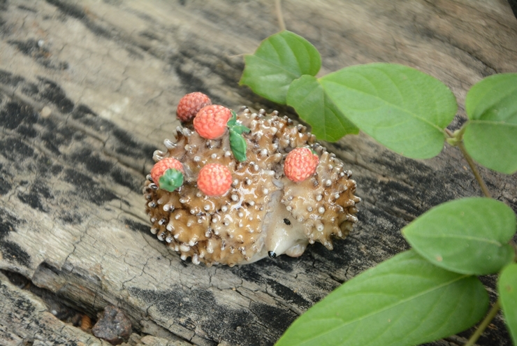 hedgehog with strawberry/miniatures/lovely animals/fairy garden gnome/terrarium decoration/resin/home decor/g002(China (Mainland))