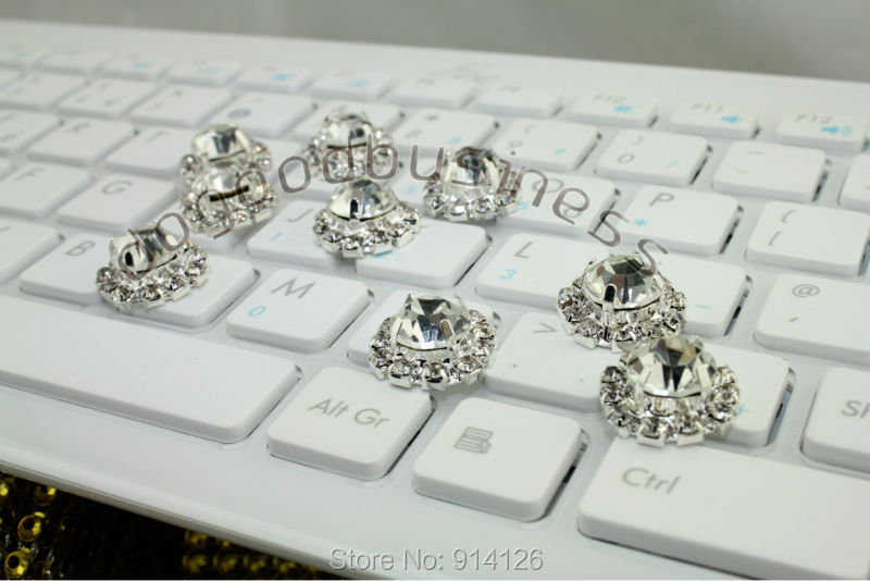 Silver Plated rhinestone crystal button rhinestone buckle 30pcs wedding invitation decoration wedding crystal button(China (Mainland))