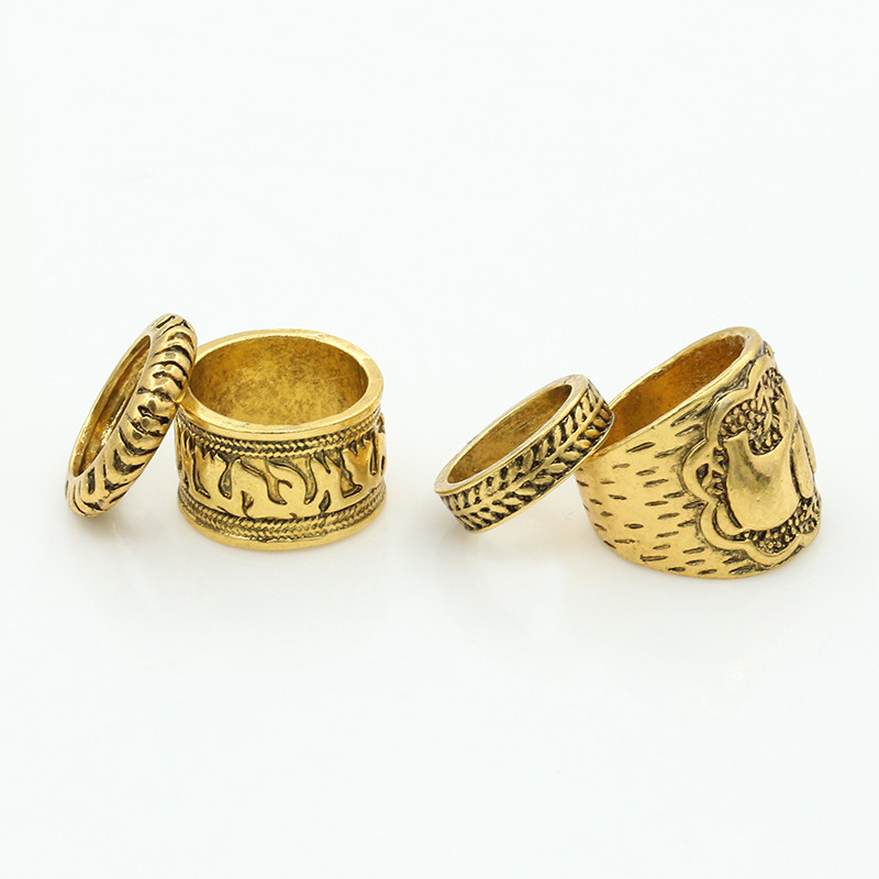 vintage ring set unique carved antique silver jewelry