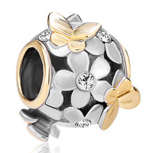 Pugster 22 K Clear White Flower Golden Butterfly Fits Two Tone Plated Beads Charms Bracelets Fit All Brands