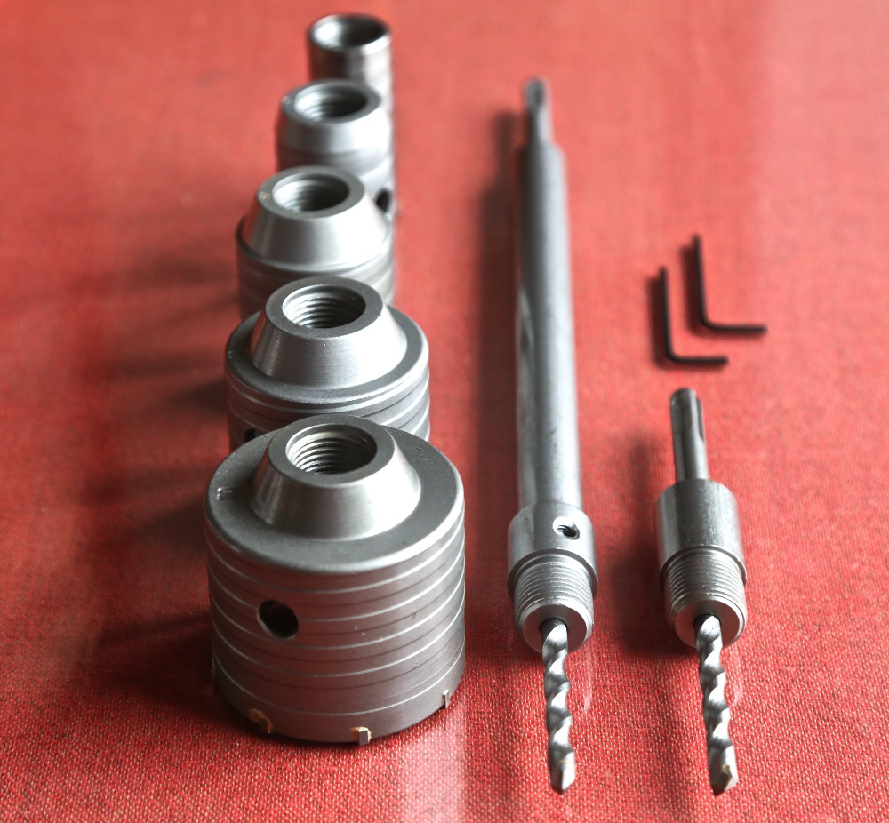 New offer of 9PCS/set carbide tipped wall hole saw 30/40/50/60/70mm&2pcs square four hollow extension rods 2pcs central drill(China (Mainland))