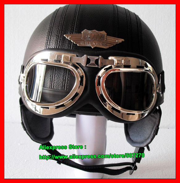 PP#08 Free Shipping YH-998 Leather Bol Open Face Helm OFF Road Casco Racing Motorcycle All Black Helmet & UV Clear Glasses Adult(China (Mainland))