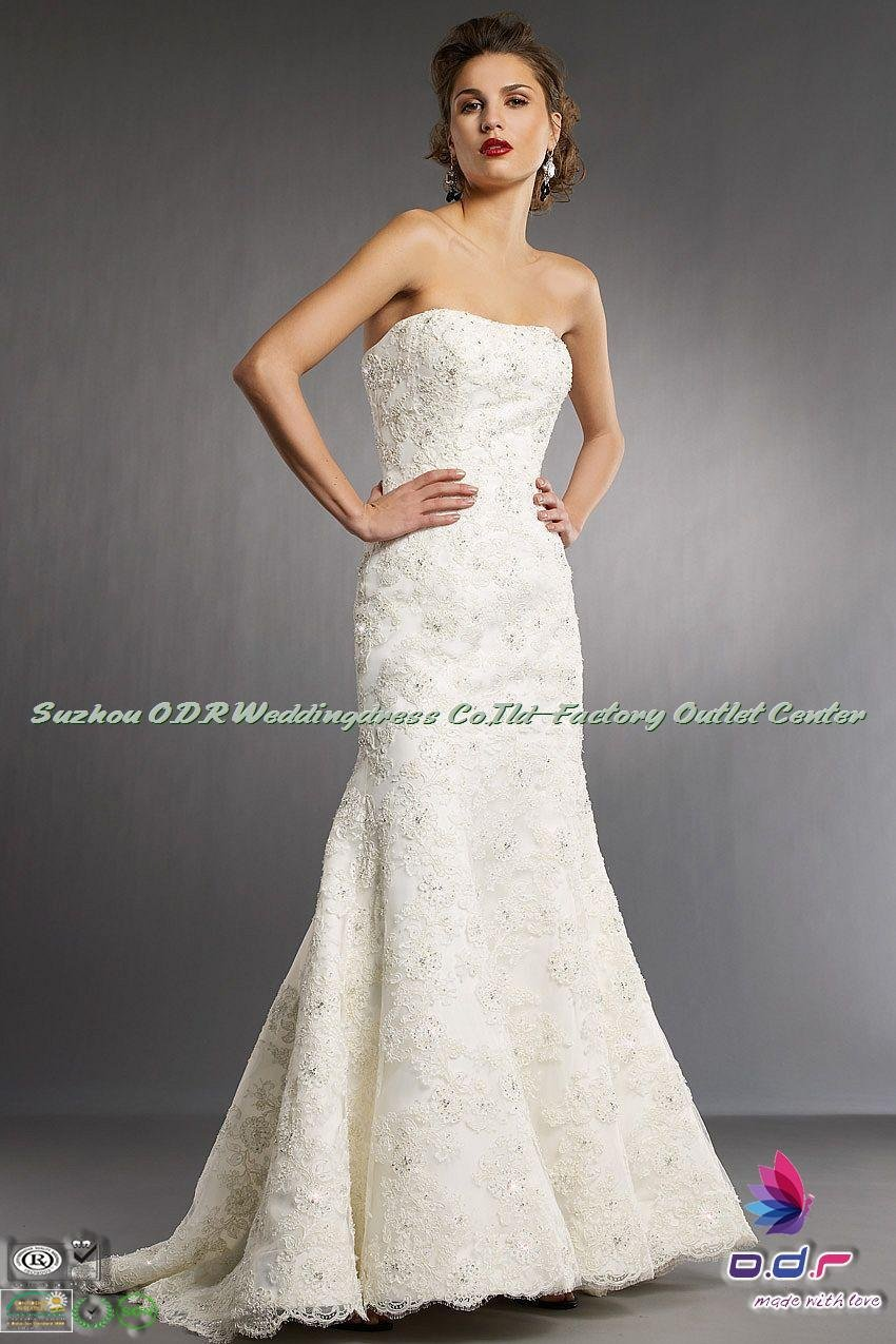 2012a new design glamorous all over lace organza for All over beaded wedding dress