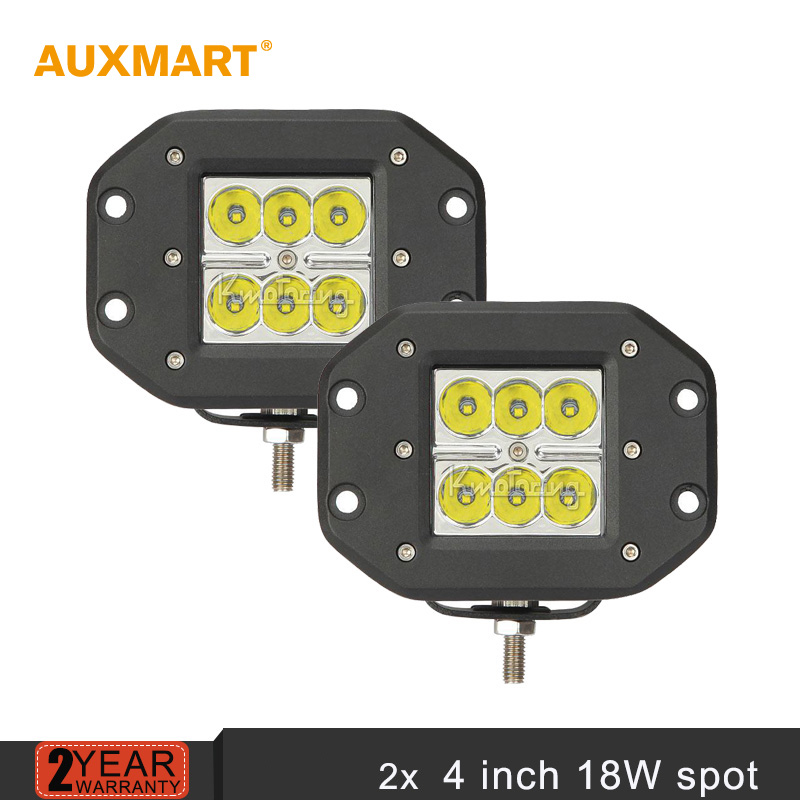 Auxmart 2pcs Cree chips 4'' 18W led light bar spot beam offroad work light front rear fog light for Ford Toyota Jeep JD40 LC80(China (Mainland))
