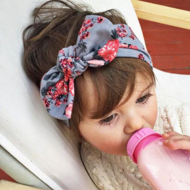 1 pieces 2015 Cute Newborn Baby Cool Girls Printing Knot Elasticity Headband Cotton Children Girls Baby Hair Accessories T14(China (Mainland))