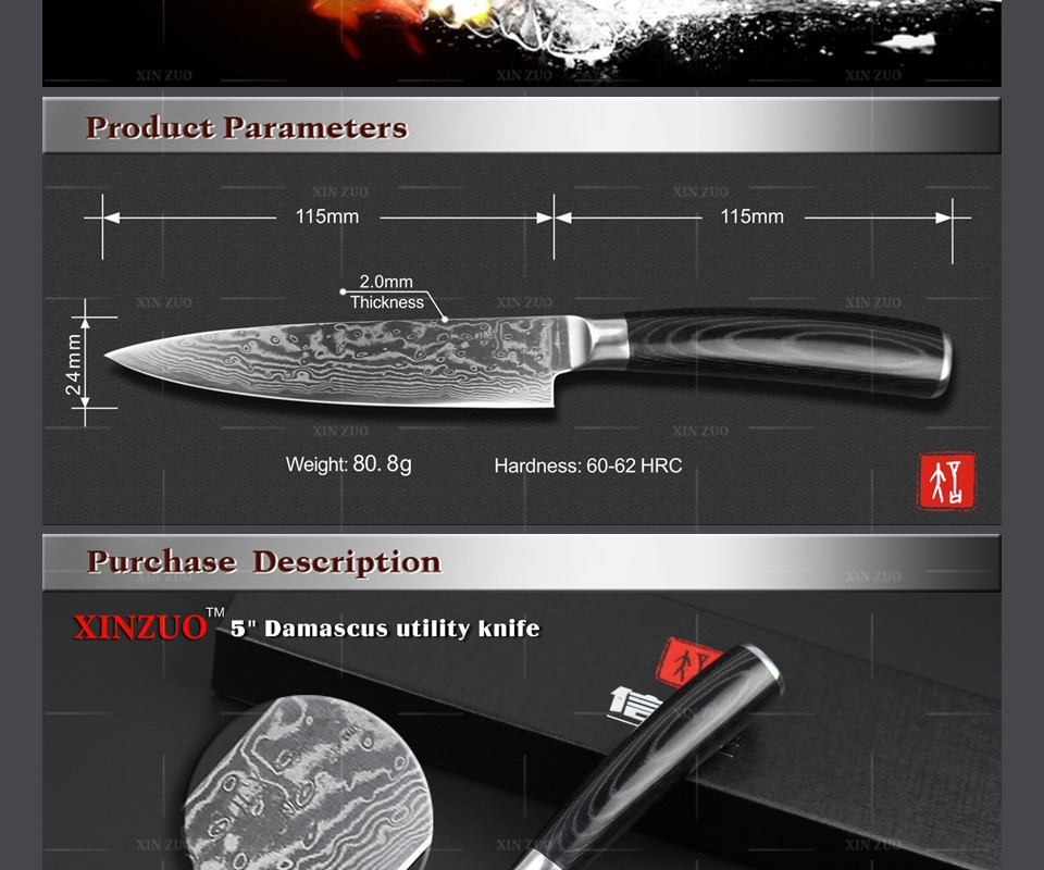 "Buy High quality 5"" Utility knife Japanese VG10 Damascus Multi-purpose Universal knife kitchen knife Micarta handle FREE SHIPPING cheap"