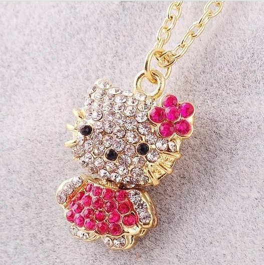 Min order is $10(mix order)New Style Girls Jewelry FashionCrystal Hello Kitty necklaceWOMEN pendant necklaces Rhinestone(China (Mainland))