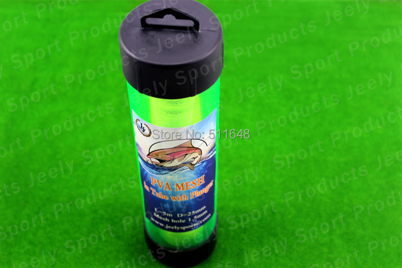 Free shipping Slow Solution 25MM 5M Carp Fishing PVA Mesh In Tube With Plunger Refill Bar