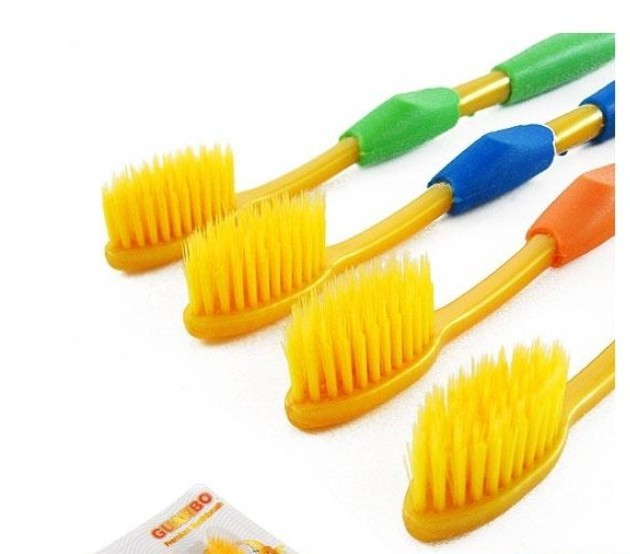 Yellow color Retail pack(4pcs) Hot selling eco-friendly nano bamboo Charcoal healthy dual adult toothbrush,dental care product