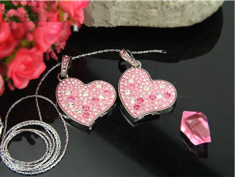 Fashion Jewelry Crystal heart USB flash drive pen drive memory stick 4GB 8GB 16GB Holiday gifts(China (Mainland))