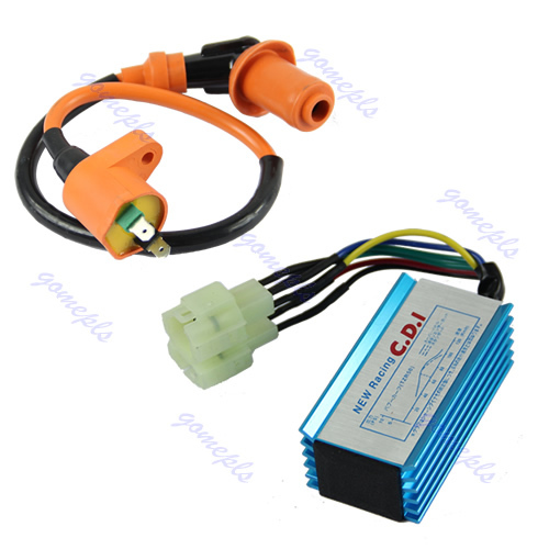 D19+Free Shipping 1pc Performance 6 pin Racing CDI Box +Ignition Coil For GY6 Scooter Moped 50CC 150CC(China (Mainland))