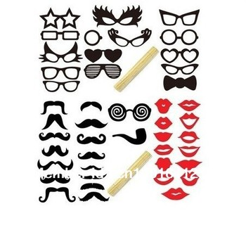 Hot Sale New 41pcs Funny Mask Wedding Party Photography Photo Booth Prop MUSTACHE ON A STICK+Free Shipping